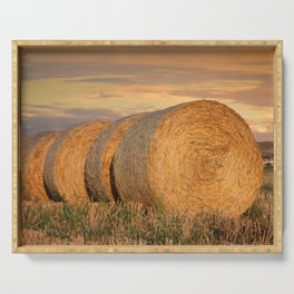 Bale of Straw Cereals Landscape Serving Tray