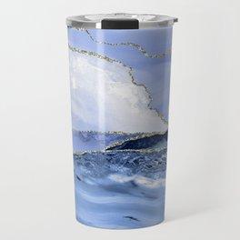 Blue Antartic Ocean Marble Waves Seascape Travel Mug