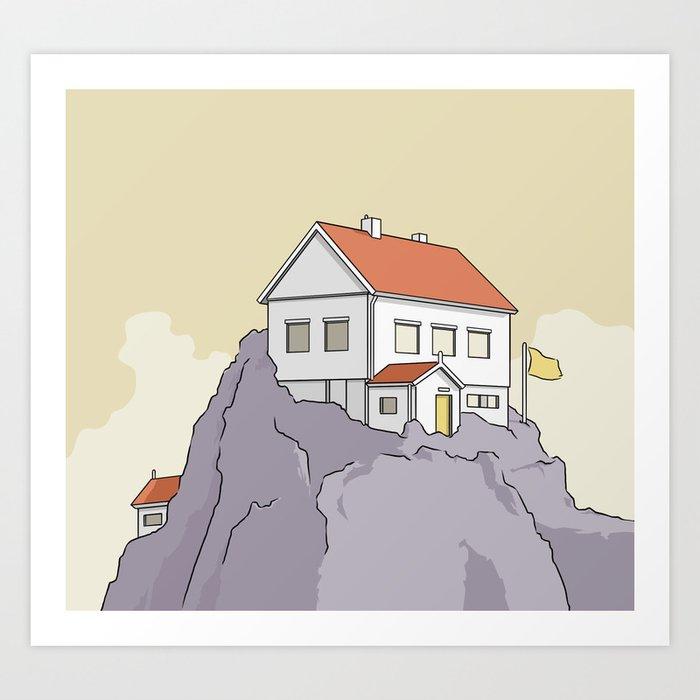 A house on a cliff Art Print