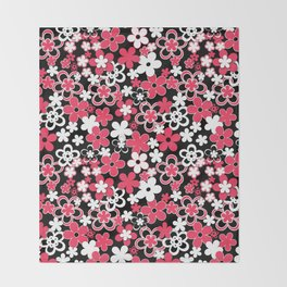 Red and white paper flowers 3 Throw Blanket