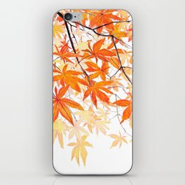 orange maple leaves watercolor iPhone Skin
