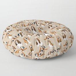 Basset Hounds on Tan Floor Pillow