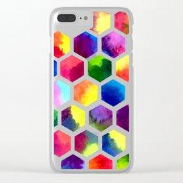 Rainbow Hexagons Clear iPhone Case
