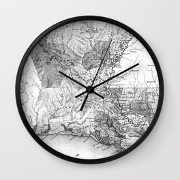 Vintage Map of Louisiana (1838) BW Wall Clock