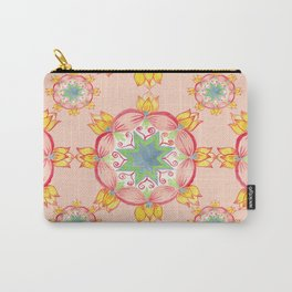 Yellow lotus Mandala Peach background Carry-All Pouch