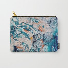 Reflections: a bold and interesting abstract mixed media piece in blues, yellows, orange, and white Carry-All Pouch