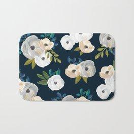 Midnight Florals - Blue & Cream Bath Mat