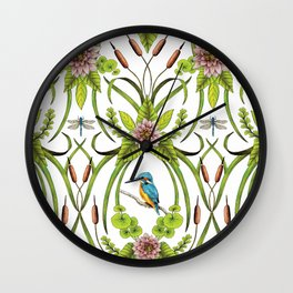 Common Kingfisher, Water Lilies, Dragonflies & Cattails Pattern Wall Clock