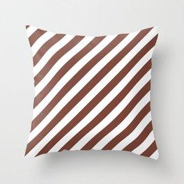 Diagonal Stripes (Brown & White Pattern) Throw Pillow