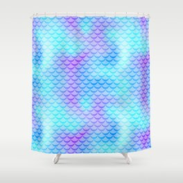 Mint Blue Mermaid Tail Abstraction. Cool Fish Scale Pattern Shower Curtain