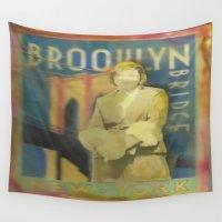 brooklyn bridge Wall Tapestries featuring Brooklyn Bridge by Marnie