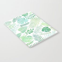 Green tropical leaves pattern Notebook
