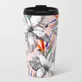 Monochrome tropic floral Travel Mug