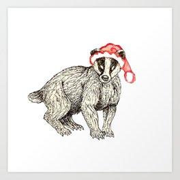 Christmas Honey Badger Art Print