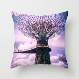 Futuristic Architecture in Singapore. Supertree Grove in Gardens by the Bay. Throw Pillow