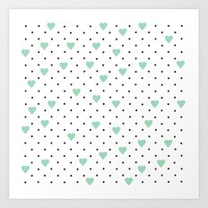 Pin Point Hearts Mint Art Print