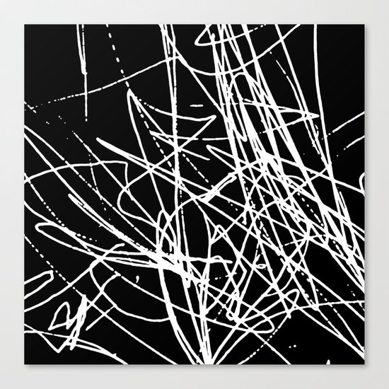 Daisy Scribble Black Canvas Print