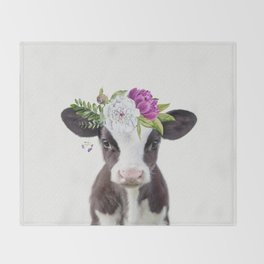Baby Cow with Flower Crown Throw Blanket