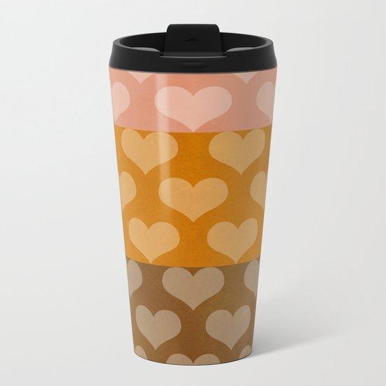 Patina Hearts Rose Gold Metal Travel Mug