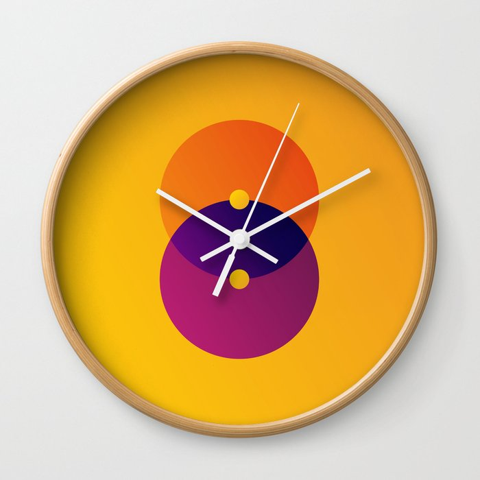 Yellow and Purple 8 (Eight) Wall Clock