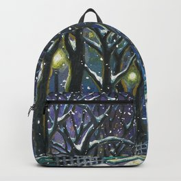 Snowy night park Backpack