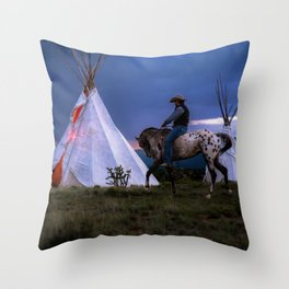 Cowboy on Horse With Teepee Throw Pillow