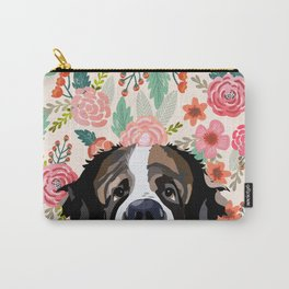Saint Bernard floral pet portrait dog breed gifts for pure breed dog lovers Carry-All Pouch