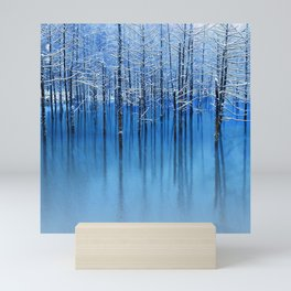 Winter Trees Glazed in Ice Reflecting in Pond Mini Art Print