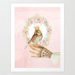 Owl on the hand Art Print