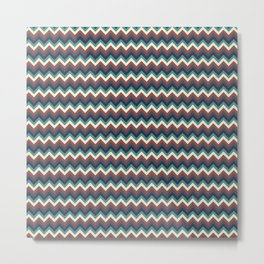 Geometrical colorful teal burgundy navy blue chevron pattern Metal Print