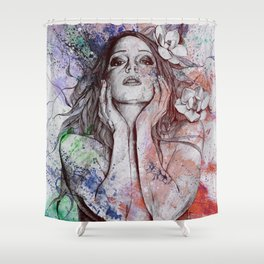 The Withering Spring: Wine (nude tattooed girl with flowers) Shower Curtain