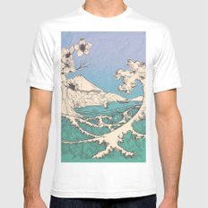 waved MEDIUM Mens Fitted Tee White