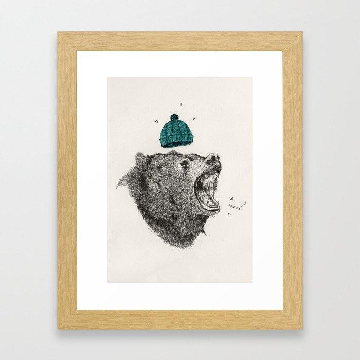 bear and cigaret  Framed Art Print