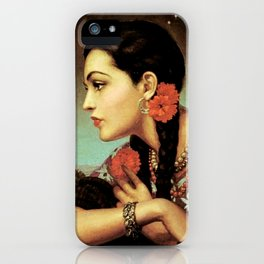Mexican Calendar Girl in Profile by Jesus Helguera iPhone Case