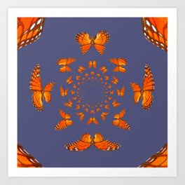 MONARCH BUTTERFLIES MATING ART GREY ABSTRACT Art Print
