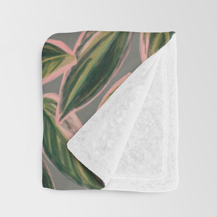 Calathea Leaves Pattern- Pink Green Gray Throw Blanket