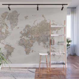 World map with cities in brown and light gray Wall Mural