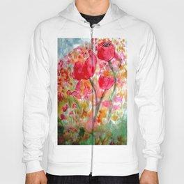 Watercolour Poppies Hoody