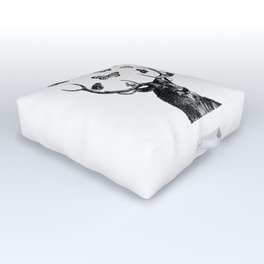 The Stag and Butterflies   Deer and Butterflies   Black and White   Outdoor Floor Cushion