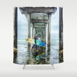 Surfers, La Jolla Shores Pier, San Diego, California. Shower Curtain
