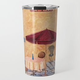 Trattoria Square – Italy – Painting by Liane Wright Travel Mug