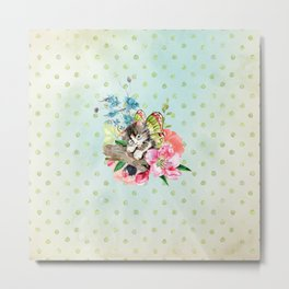 Cute Kitten on Watercolor Flowers Metal Print