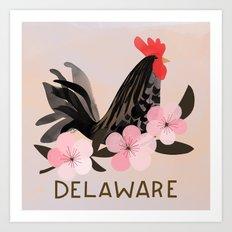 Delaware State Bird and Flower Art Print
