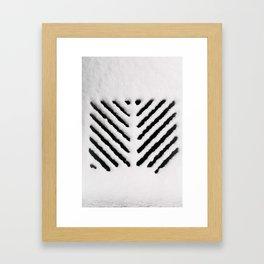 Snowy Manhold Cover in Black & White Framed Art Print