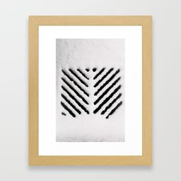 Snowy Manhold Cover in Black & White Framed Art Print