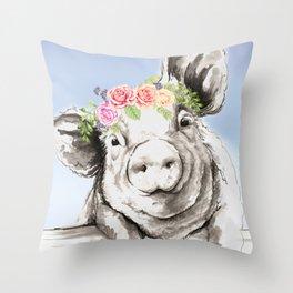 Petunia Pig Throw Pillow