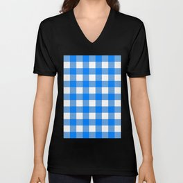 Gingham (Azure/White) Unisex V-Neck