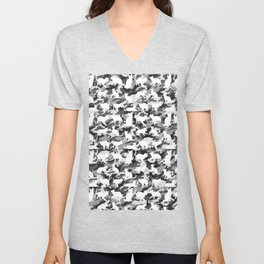 Black and White Catmouflage Camouflage Unisex V-Neck