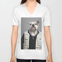 english bulldog V-neck T-shirts featuring English Bulldog Worker by Life on White Creative