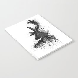 Deer Head Watercolor Silhouette - Black and White Notebook